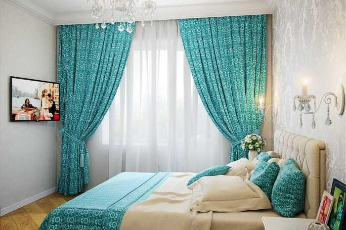 Бирюзовые шторы: преимущества и недостатки бирюзовой гаммы. Правила сочетания бирюзовых штор с элементами интерьера. Выбор материалов ткани (фото + видео)
